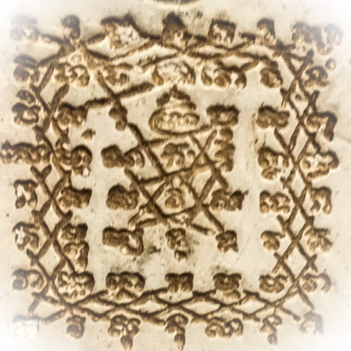 Yant on rear face of Pra Khun Phaen Klueab Amulet by Pra Ajarn Daeng